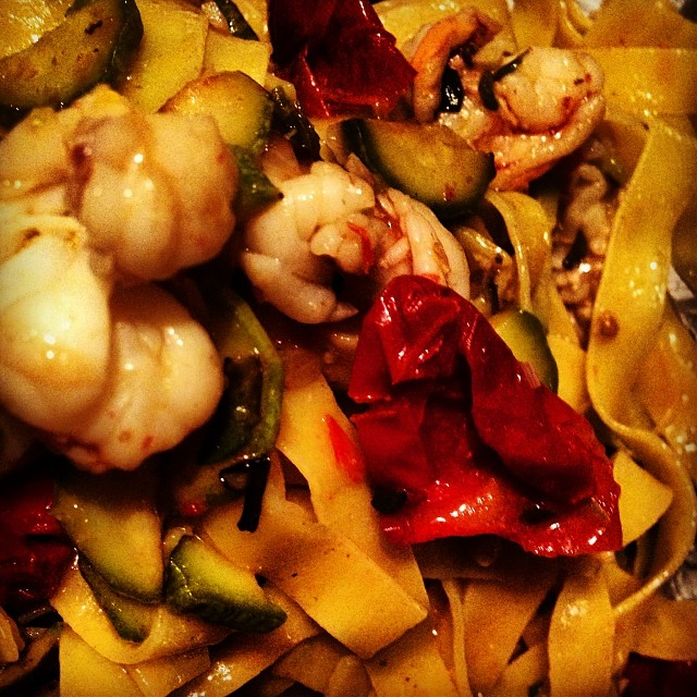 Fettuccine with shrimp, zucchini and…