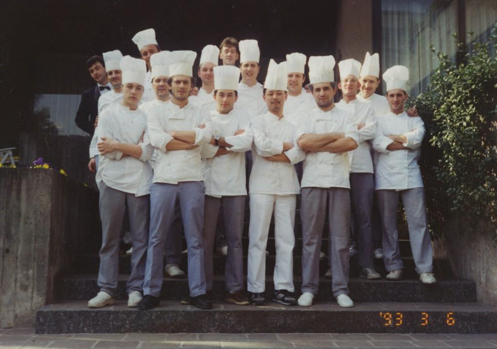 1993 -Con la brigata di cucina al ristorante Il Griso di Malgrate, Lecco.